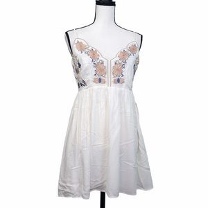 Lulu's Floral Embroidered White Fit & Flare Dress